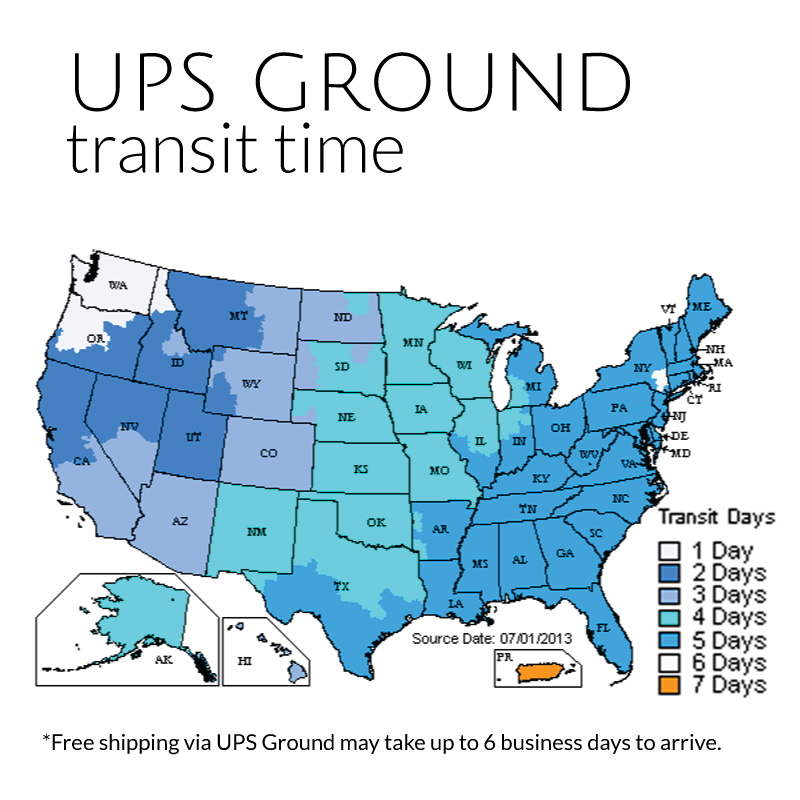 Shipping Terms Returns Policy - Ups shipping time map